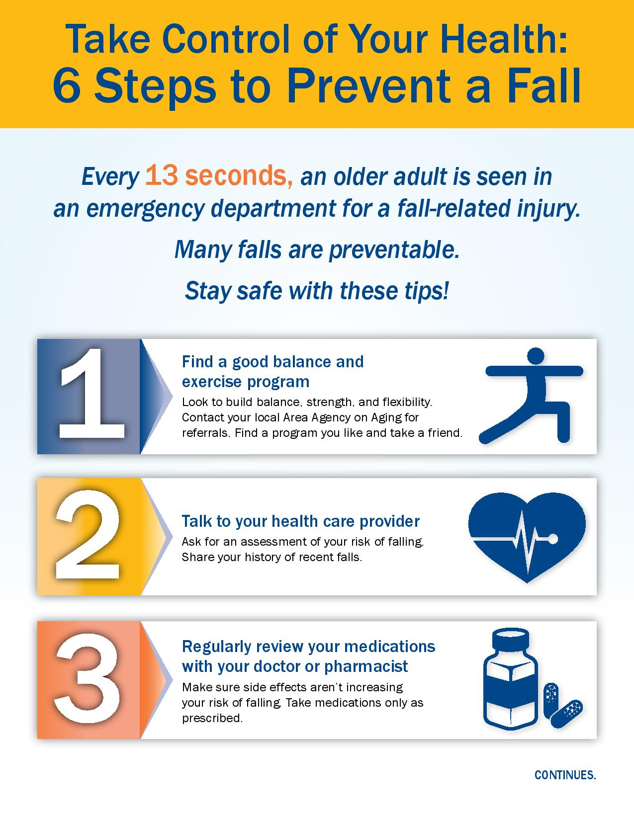 6 steps to prevent a fall infographic page 1