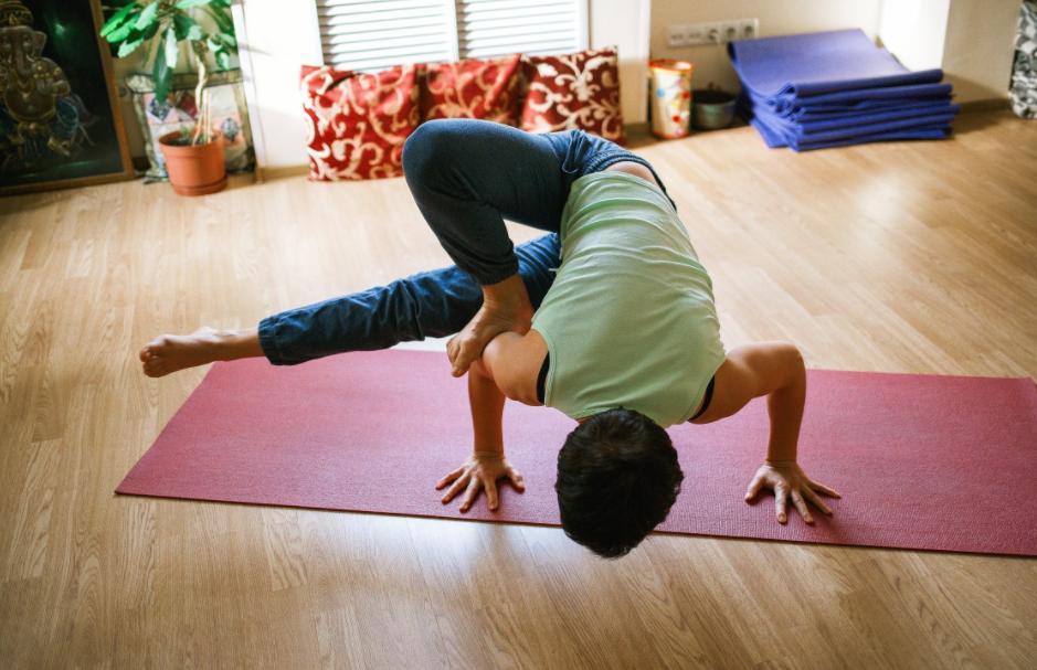 Man in Risky Yoga Pose