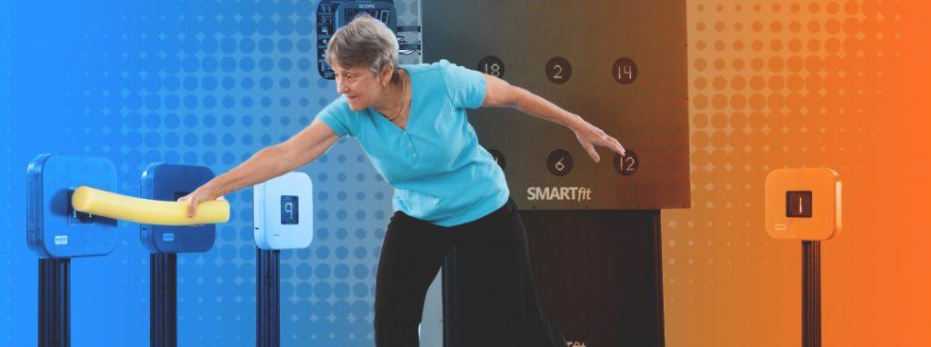 Senior woman engaging in smartfit rehab