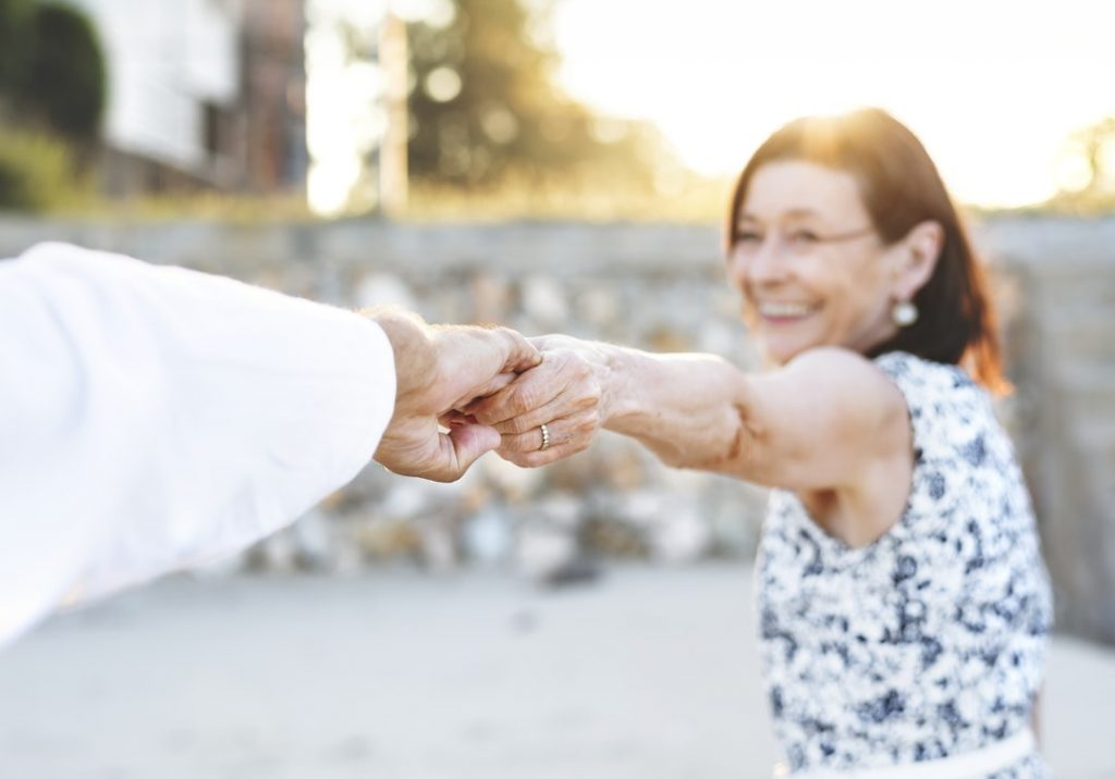 aging couple dancing