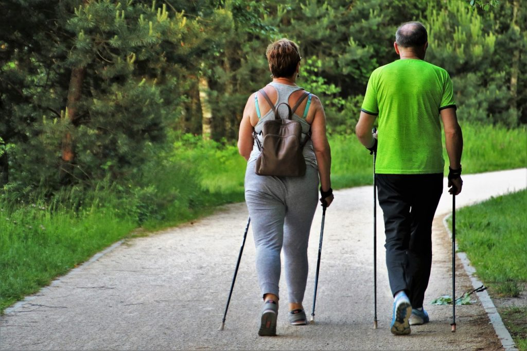 Aging Couple Walking