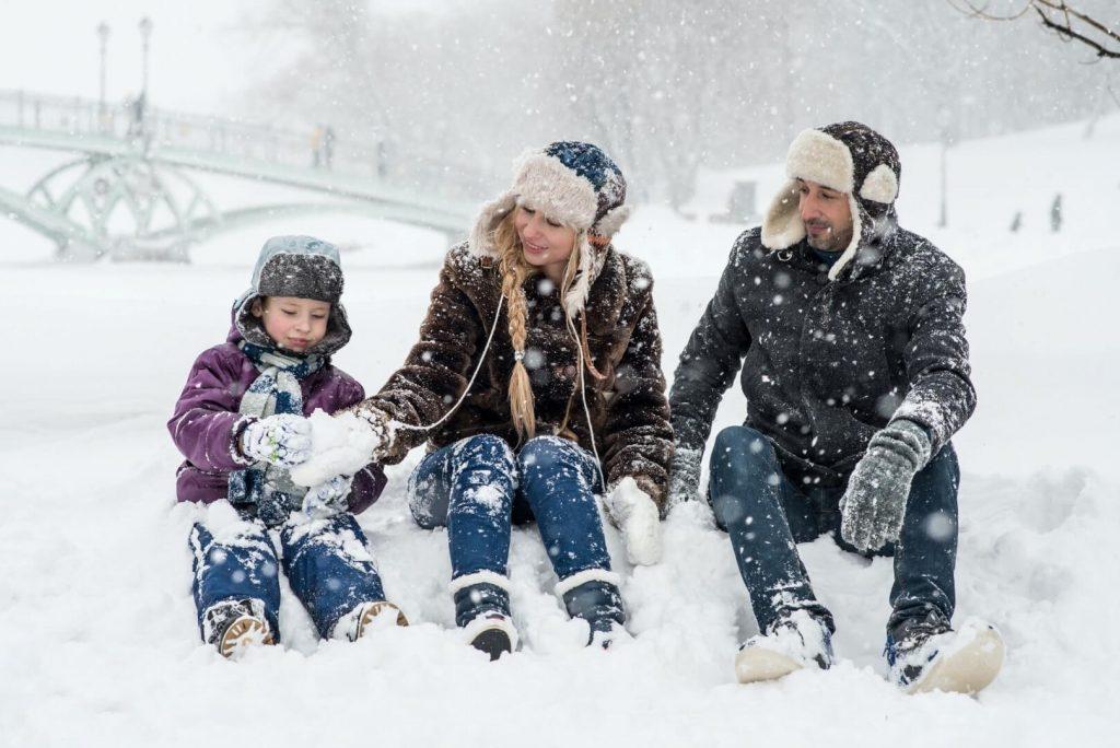 Family Enjoying the Snow