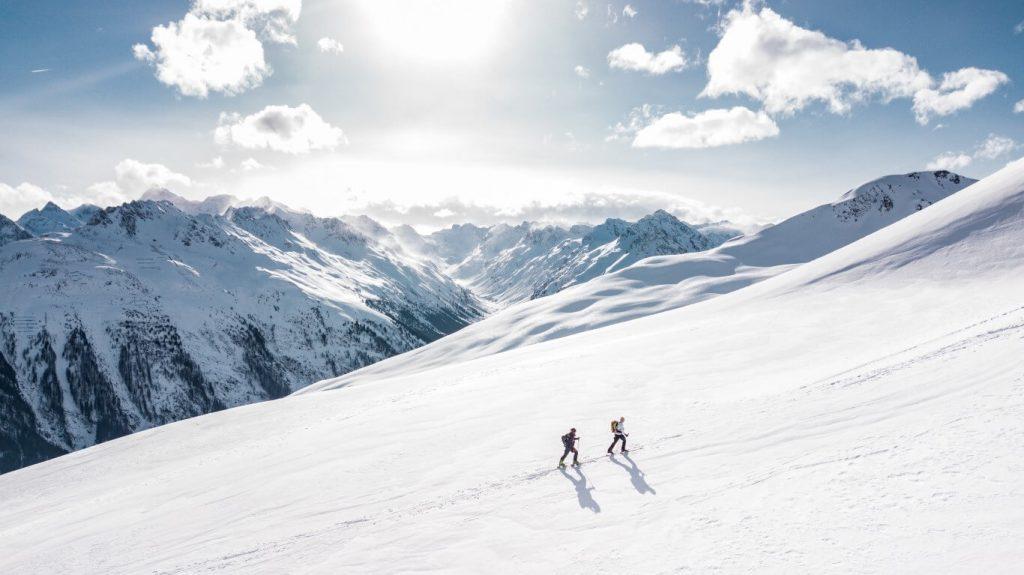 Hiking in Sunlight in Winter